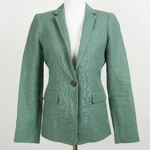 J Crew sz 2 Petite green linen blazer